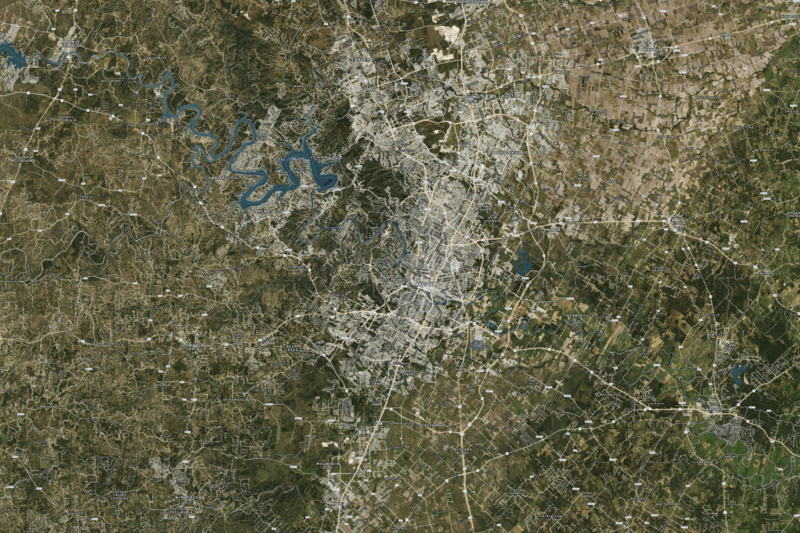 Waterproof map of Austin