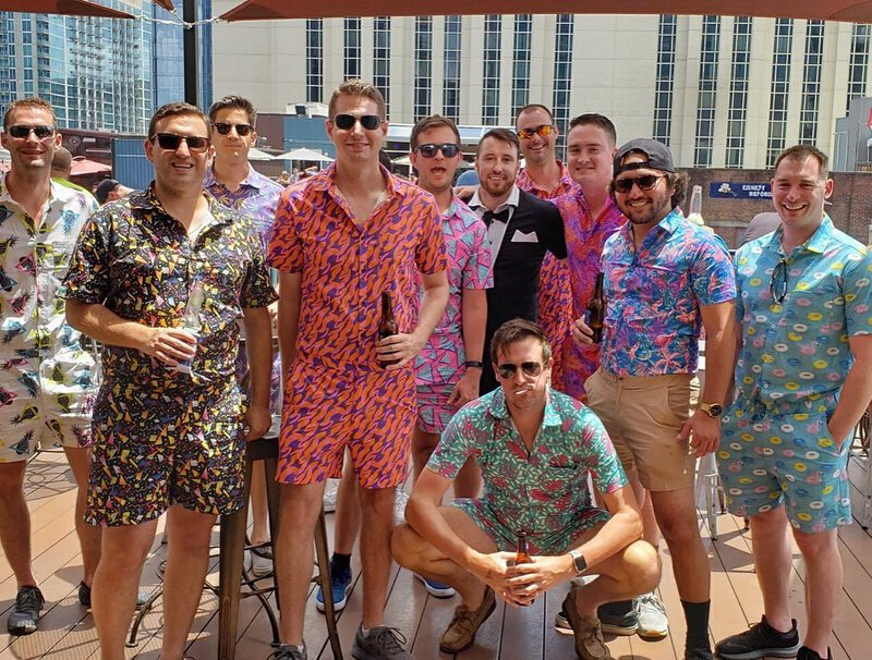 Bachelor party in dude rompers